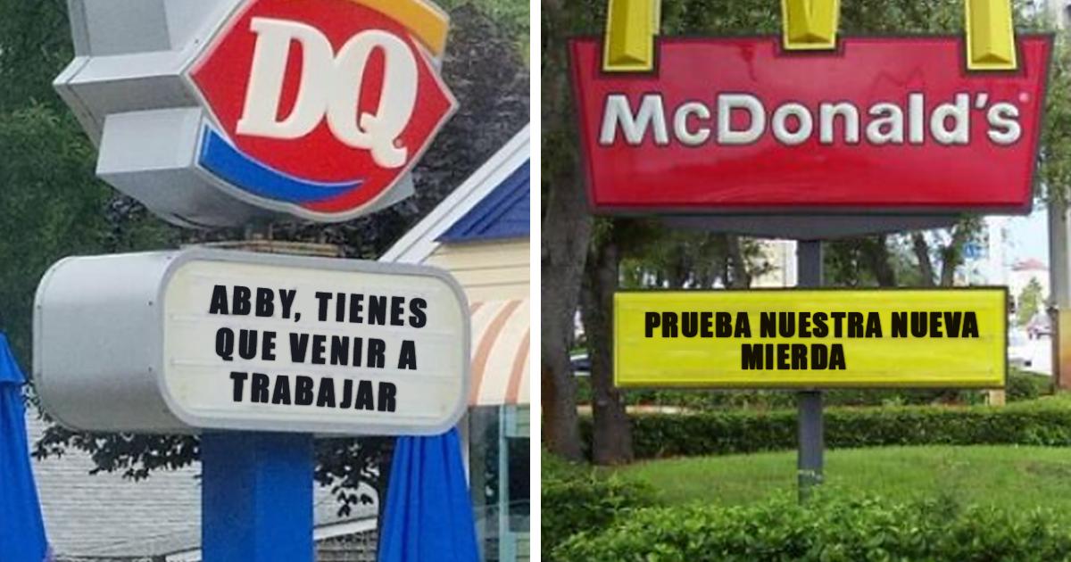 30 Divertidísimos carteles vistos en restaurantes de comida rápida