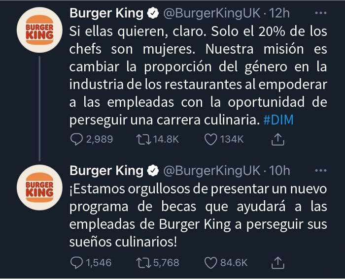 """Burger King UK tuitea que """"las mujeres deben estar en la cocina"""" en el Día Internacional de la Mujer"""