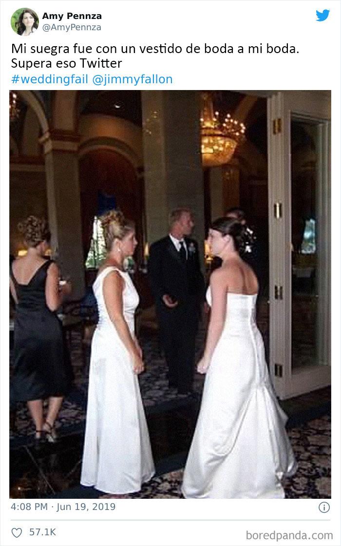 La suegra de la novia lleva un vestido de novia a la boda...uyyy