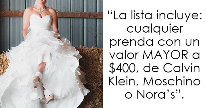 Esta novia pidió a sus invitados regalos de $400 y es criticada en internet