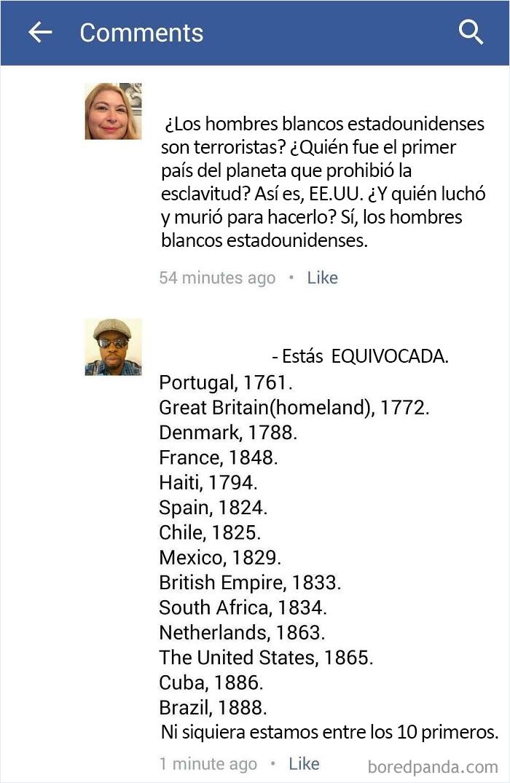 """""""¿Quién fue el primer país del planeta en prohibir la esclavitud? Así es, Estados Unidos"""""""