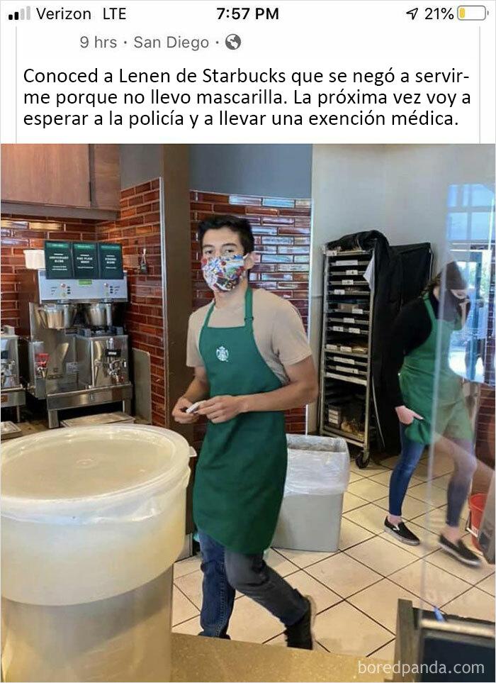 Pobre empleado del Starbucks...