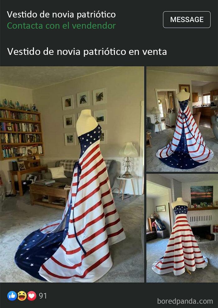 ¿Algún otro país tiene gente que ha llevado su bandera como vestido de novia? ¿No? Simplemente... uf