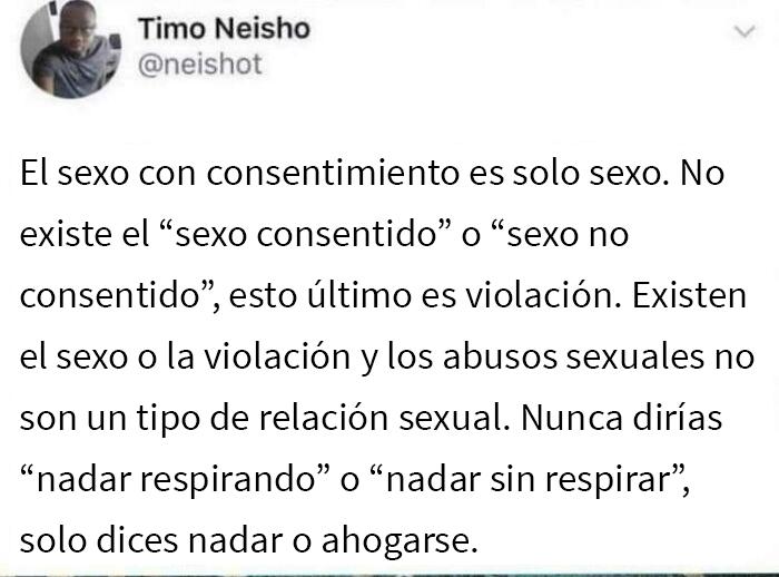 """Erradiquemos los conceptos """"sexo consentido"""" y """"sexo no consentido"""", es sexo o violación. No debemos utilizar el lenguaje como una herramienta para enmascarar los traumas y el horror"""