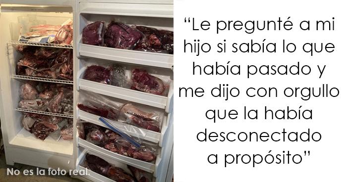 Este padre hace que su hijo vegetariano tenga que lidiar con un congelador lleno de carne podrida que el hijo desconectó a propósito para echarla perder