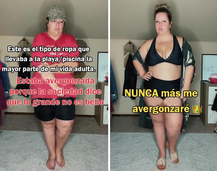 5 Fotos de mujeres de talla grande comparando lo que otros quieren que lleven en la playa con lo que ellas quieren llevar