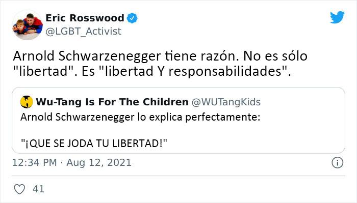 """Arnold Schwarzenegger acalla a los antimascarillas con esta analogía y explica qué es la """"verdadera libertad"""""""
