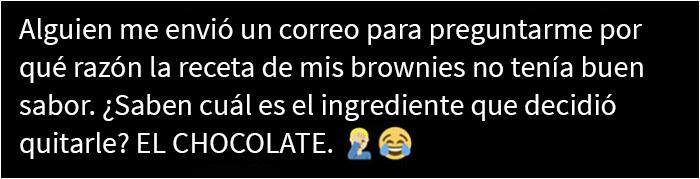 Esto fue publicado por una escritora gastronómica en Twitter: brownies sin chocolate