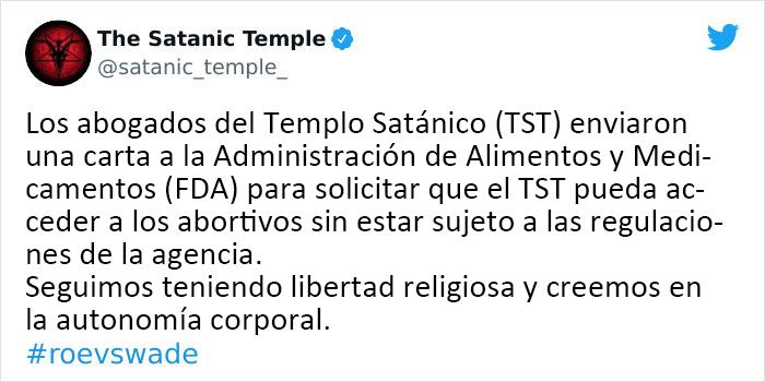 La gente aplaude al Templo Satánico por dar la cara para proteger el derecho al aborto en una carta viral a la FDA