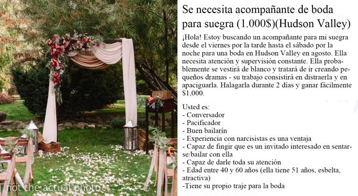 Se vuelve viral un anuncio en Craiglist donde buscan un acompañante para una suegra infernal durante una boda